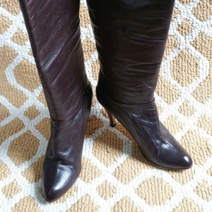Spiegel Brown Leather High Heel Boots Size 8.5